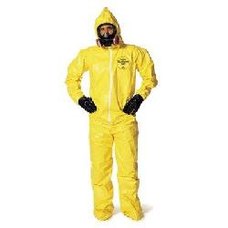 Yellow Tychem QC Chemical Protection Coveralls With Serged Seams by Dupont in Godzilla