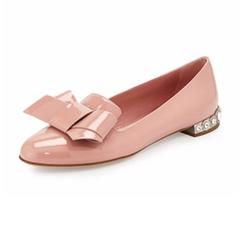 Jewel-Heel Patent Bow Flats by Miu Miu in The Bold Type