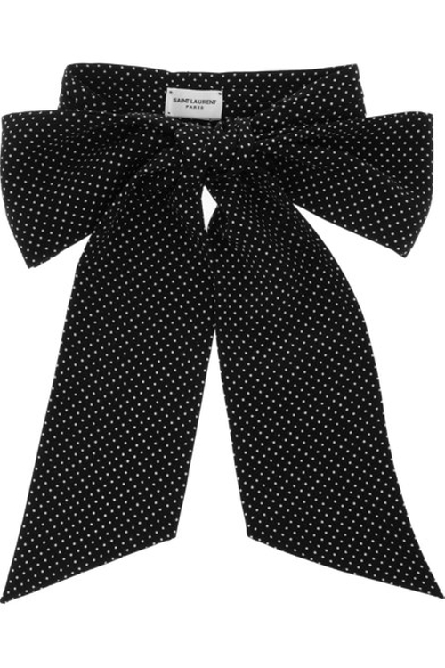Polka Dot Silk Bow Tie by Saint Laurent in Elementary