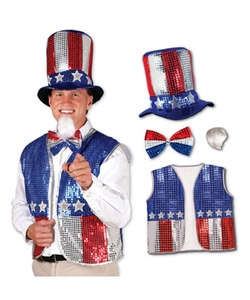 Uncle Sam Costume Accessory Hat Bowtie Beard And Vest Set by Beistle in Rocky IV