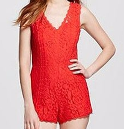 Lace V-Neck Romper by Blu Pepper in Riverdale