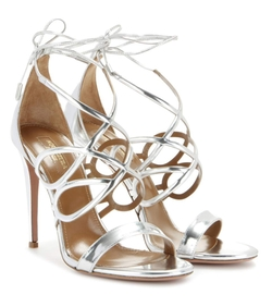 Gigi 105 Metallic Leather Sandals by Aquazzura in Mistresses
