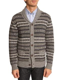 Jacquard Wool Cardigan With Wooden Buttons by Hartford in Lucy