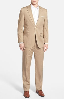 Classic Fit Cotton Blend Suit by Coconut Grove in Rosewood