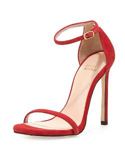 Nudist Ankle-Strap Suede Sandal by Stuart Weitzman in The Other Woman