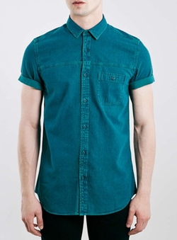 Teal Grunge Denim Short Sleeve Casual Shirt by Topman in Pretty Little Liars