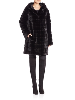 Hooded Mink Fur Coat by The Fur Salon in Empire