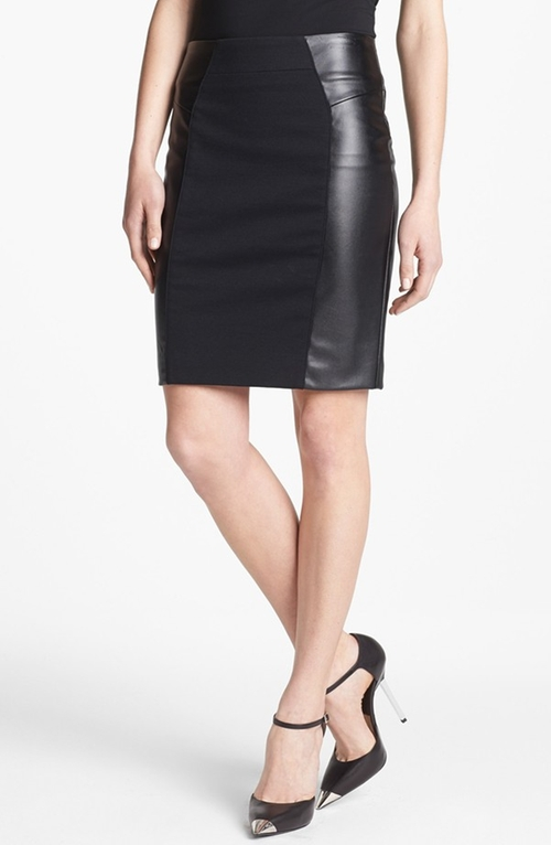 Ponte & Faux Leather Skirt by Michael Michael Kors in Addicted