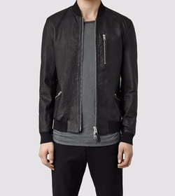 Utility Leather Bomber Jacket by All Saints in Shadowhunters