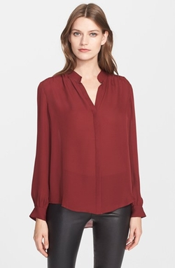 Band Collar Silk Blouse by L'agence in Modern Family