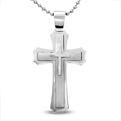 Large Stacked Cross Pendant Necklace by Previously Owned in John Wick