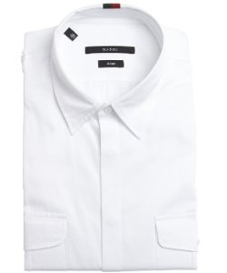 White Cotton Button Front Point Collar Shirt by Gucci in The Man from U.N.C.L.E.