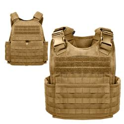 Modular Tactical SAPI Plate Carrier Body Armor Vest - Coyote Tan by MOLLE in Savages