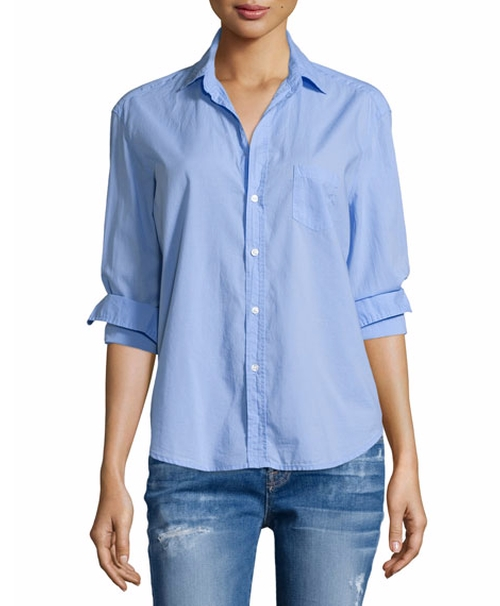 Eileen Button-Front Poplin Shirt by Frank & Eileen in The Boss
