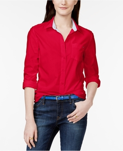 Solid Button-Down Shirt by Tommy Hilfiger in Supergirl