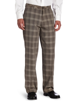 Plaid Straight Fit Flat Front Pant by Haggar in Victor Frankenstein