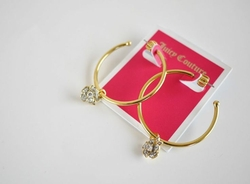 Pave Flower Charm Hoop Earrings by Juicy Couture in Pitch Perfect 2