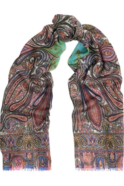 Paisley-Print Cashmere Scarf by Etro in The Second Best Exotic Marigold Hotel