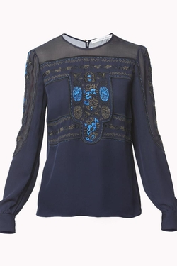Tobie Crew Neck Blouse by Veronica Beard in Nashville