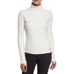 Inez Chevron-Ribbed Turtleneck Sweater by Tory Burch in The Boss