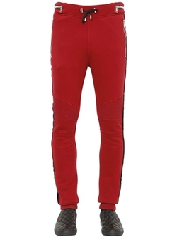 Cotton Jogging Pants With Velvet Piping by Balmain in Empire