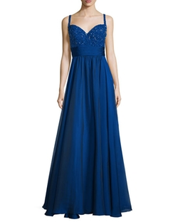 Sweetheart Beaded-Bodice Combo Gown by La Femme  in The Bachelorette