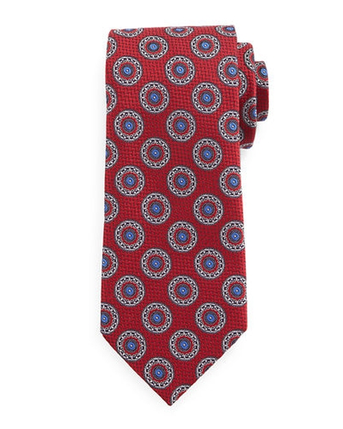 Circle-Medallion Print Silk Tie by Ermenegildo Zegna in Scandal - Season 5 Episode 8