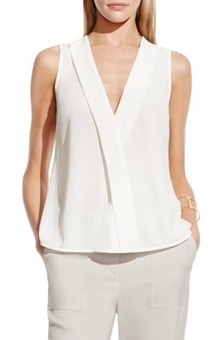 Faux Wrap V-Neck Blouse by Vince Camuto  in The Flash