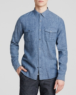 Indigo Twill Button Down Shirt by Vince in The Good Wife