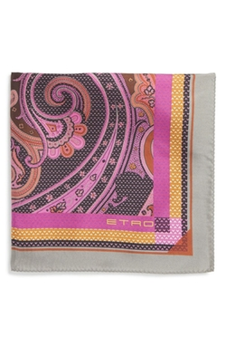 Dot & Paisley Print Silk Pocket Square by Etro in Ballers