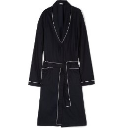 Waffle Knit Cotton Dressing Gown Robe by Zimmerli in Black or White