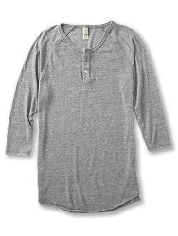 Three-Quarter Sleeve Raglan Henley Shirt by Alternative in The Great Gatsby