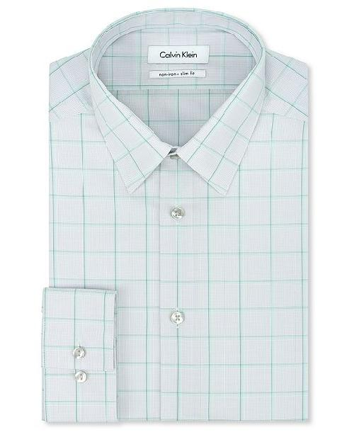 STEEL No-Iron Slim Fit Grey and Mint Green Plaid Dress Shirt by Calvin Klein in Million Dollar Arm