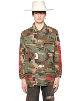 Camo Printed Cotton Canvas Field Jacket by Off White in Empire