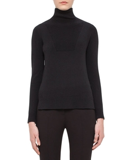 Turtleneck Vented-Hem Sweater by Akris Punto in Power