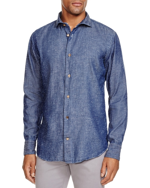 Fleck Denim Slim Fit Button Down Shirt by Eleventy in The Intern