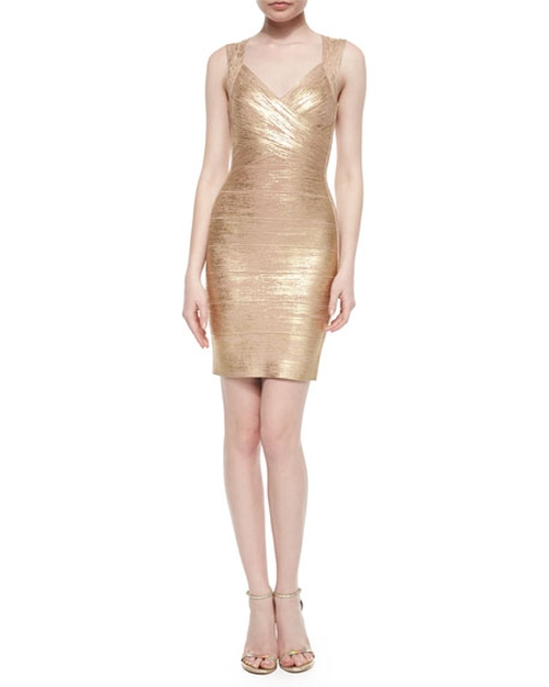 Crisscross Metallic Bandage Dress by Herve Leger in Flaked