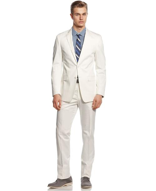 Suit White Cotton Slim Fit by Calvin Klein in And So It Goes