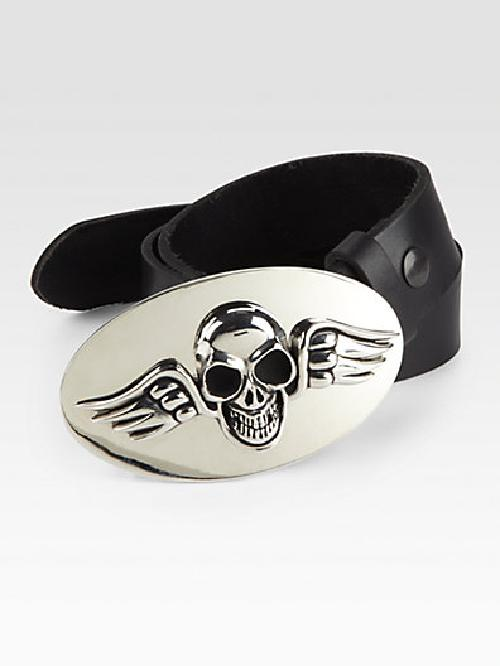 Winged Skull Belt Buckle by King Baby Studio in Sabotage