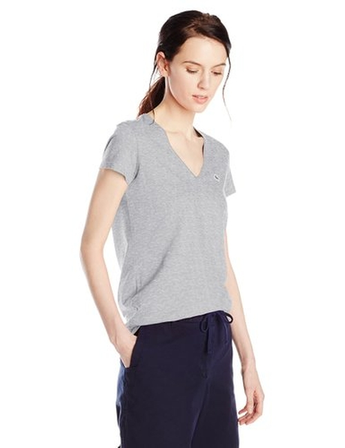 Women's Short-Sleeve Jersey V-Neck T-Shirt by Lacoste in The Forest