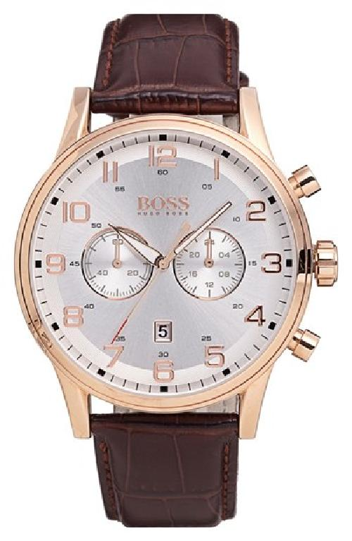 Chronograph Leather Strap Watch, 44mm by HUGO BOSS in Transcendence