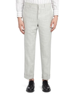 White with Blue Stripes Trousers by Brooks Brothers in Sisters