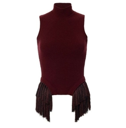 Fringe Trim Sleeveless Knit Sweater by Thierry Mugler in Power