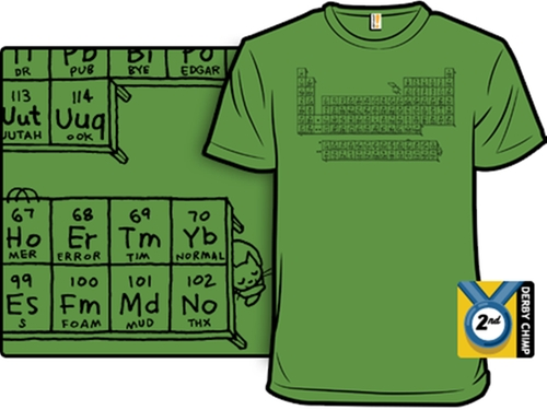 Questionable Table Of Elements Shirt by Woot in The Big Bang Theory - Season 9 Episode 12