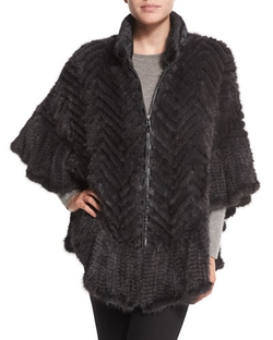 Chevron-Knit Mink Fur Cape by Belle Fare in Confessions of a Shopaholic