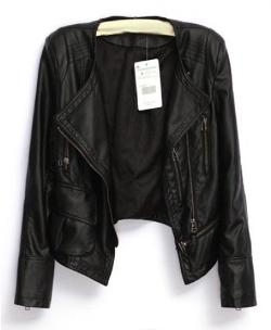 Zipper Closure Long Sleeves PU Leather Jacket by Chic Nova in The November Man