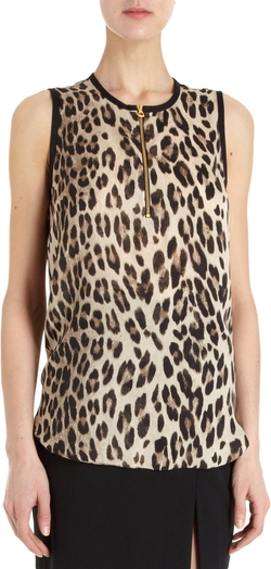 Animal Sleeveless Leopard Print Blouse by L'Agence in The Other Woman