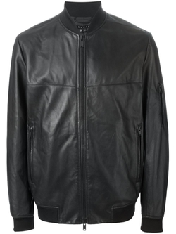 Leather Bomber Jacket by Theory in Ballers