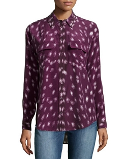 Long-Sleeve Spotted-Print Silk Blouse by Equipment in The Second Best Exotic Marigold Hotel