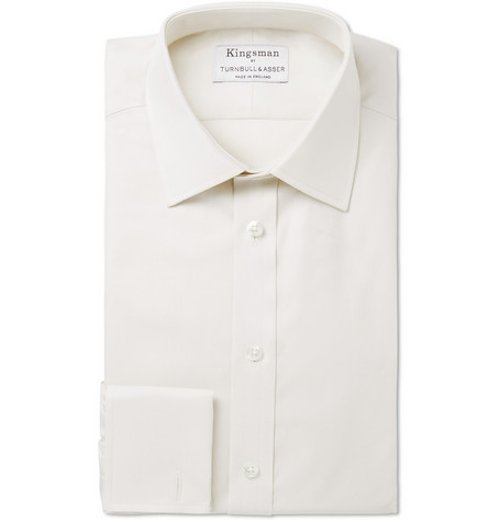 Cream Royal Oxford Cotton Shirt by Turnbull & Asser in Kingsman: The Secret Service